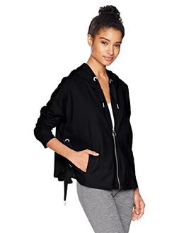 Calvin Klein Performance Women's Side tie Zip Hoodie, Black,