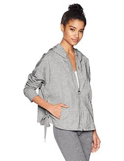 Calvin Klein Performance Women's Side tie Zip Hoodie, Pearl