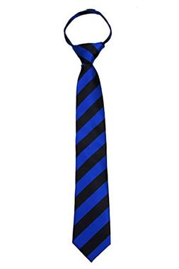 College Stripe Repetitive Boys Youth Zipper Necktie Schools