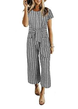Cosygal Women Striped Linen Short Sleeves Wide Leg Jumpsuit