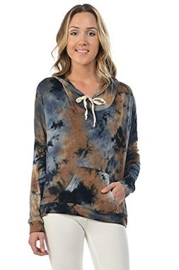 Daisy Queen Women's MUST HAVE Tie-Dyed Vintage Style Zip Hoo