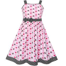 Girls Dress Red Heart Bow Tie Dot Summer Sundress Size 9-10
