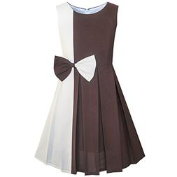 KE48 Girls Dress Color Block Contrast Bow Tie Everday Party
