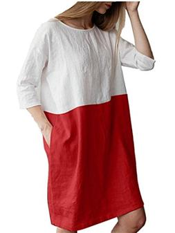 MODOQO Women Cotton Linen Loose Pockets Casual Patchwork 1/2