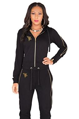 Poetic Justice Women's Curvy Fit Black French Terry Gold Zip