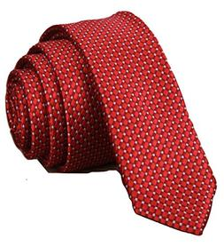 Red Necktie Men's Ties Solid Striped Tie Woven Classic Jacqu