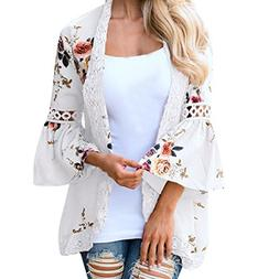 Syban Women Lace Floral Open Cape Casual Coat Loose Blouse k