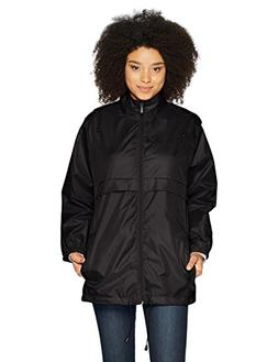 Totes Women's Packable Anorak Rain Jacket, Black, S/M