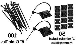 "1"" Adhesive Backed Mounting Bases with 6"" Cable Ties - Black"