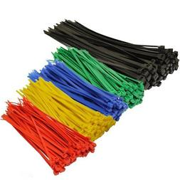 Topzone Assorted Color Nylon Cable Zip Ties Self Locking 250