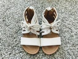 Baby Girl Gladiator Tie Front Zip Back Sandals Size 5 Toddle