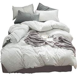 MooMee Beddding Duvet Cover Set 100% Washed Cotton Linen Lik