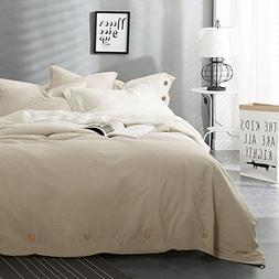 NANKO Beige Duvet Cover Set Queen, 3 pc - 90 x 90 Hotel Bed