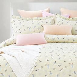 Wake In Cloud - Birds Duvet Cover Set, 100% Cotton Bedding,