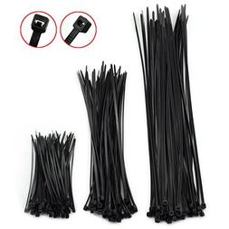 DZS Elec 300pcs Black Cable Ties Kit 3x100MM 4x200MM 4x300MM
