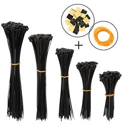 Hapdoo Black Nylon Cable Zip Ties Cable Tie Cable Straps, 50
