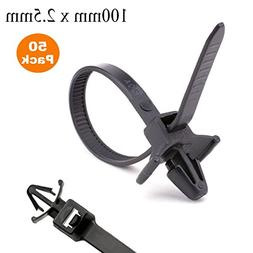 50 x Black Push Mount Winged Cable Ties 100mm x 2.5mm Car Ch