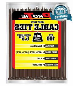 Pro Tie BR5LD100 5.5-Inch Brown Light Duty Color Cable Tie,