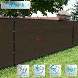 Patio Paradise 4' x 60' Brown Fence Privacy Screen, Commerci