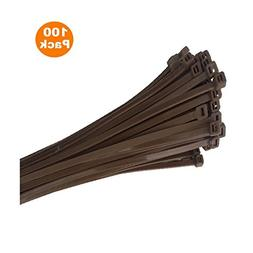 100 x Brown Nylon Cable Ties 300 x 4.8mm / Extra Strong Zip