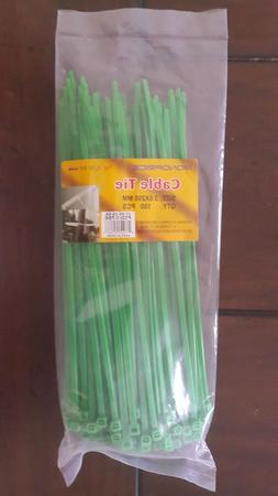 Monoprice® Cable Tie 8 inch 40lbs, 100pcs/Pack - Green