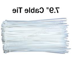 "CABLE TIES 7.9"" inch White Plastic Nylon ZIP Tie Wire Strap"