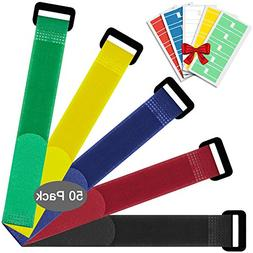 50 Pack Reusable Fastening Cable Strap, YuCool 7.87x0.79 inc