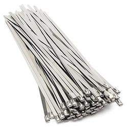 """SummerHome 100Pcs Chrome 9.8"""" Stainless Steel Cable Straps S"""