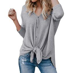 Clearance Seaintheson Womens Loose Knit Tunic Blouse Tie Kno