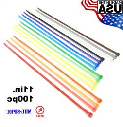 "Color Zip Cable Ties 11"" 50lbs 100pc Made in USA Nylon Wire"