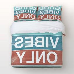 Colorful Bedding 4 Piece Duvet Cover Set Good Vibes Only Quo