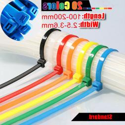 Colorful Nylon Cable Zip Ties Wraps Straps Small 2.5-3.6mm W