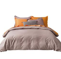 SUSYBAO 3 Pieces Duvet Cover Set 100% Natural Cotton Queen S