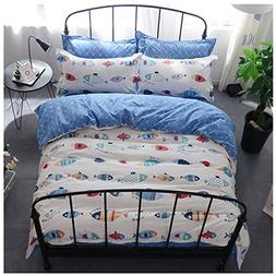 BuLuTu Sea Fish Print Kids Bedding Duvet Cover Sets Queen Co