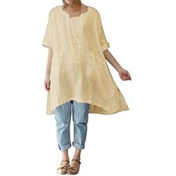 Syban Womens Cotton Linen Thin Section Loose Long-Sleeved Bl