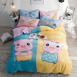 Anjos Cute Pigs Cartoon Animals Print 4Pc Duvet Cover Set Be
