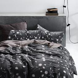 Wake In Cloud - Dark Gray Duvet Cover Set, 100% Cotton Beddi