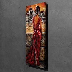 LaModaHome Decorative Canvas Wall Art  Wooden Thick Frame Pa