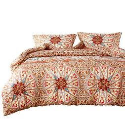 Wake In Cloud - Bohemian Duvet Cover Set, Orange Chic Mandal