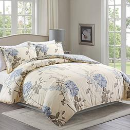 Duvet Cover Set with Zipper Closure and Corner Ties,3 Piece