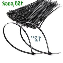 150 Pack Extra Heavy Duty 12 Inch Black Cable Ties, Premium