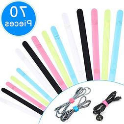 AUSTOR 70 Pcs Fastening Cable Ties Colorful Hook and Loop St