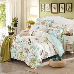 Papa&Mima Floral Pastoral Birds Duvet Cover Set Flat Sheet P