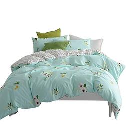 BuLuTu Floral Print Cotton Kids Bedding Cover Sets Queen for