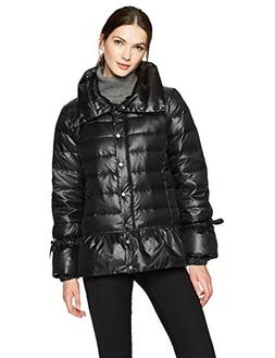 HAVEN OUTERWEAR Women's Funnel Neck Down Jacket with Peplum,