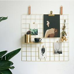 ANZOME Gold Grid Photo Wall, Wire Wall Mesh Display Panel De