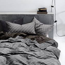 Wake In Cloud - Gray Duvet Cover Set, 100% Cotton Bedding, C