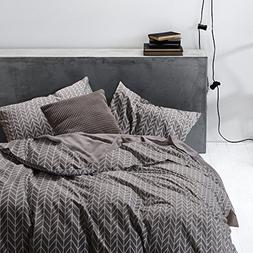Wake In Cloud - Gray Chevron Duvet Cover Set, 100% Cotton Be