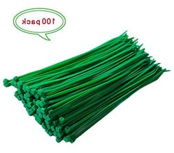 "HUNIKC 8"" Green Multi-Purpose Nylon Cable Zip Tie & Self-loc"