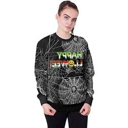 Kulywon Women's Halloween 3D Print Party Spider Web Pullover